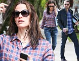The actress looked like she had raided husband Ben Affleck's closet in the oversized checked shirt she chose for a lunch date on Thursday.