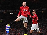 Jumping for joy: Wayne Rooney celebrates after scoring for Manchester United against Reading