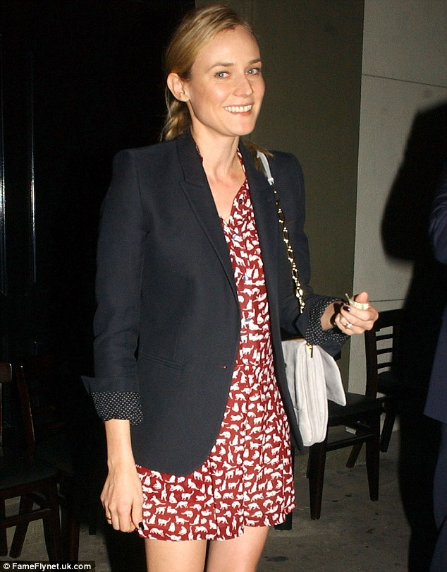 Casual but elegant: The Inglorious Basterds star showed her fashion sense with a light summer dress and dark blazer