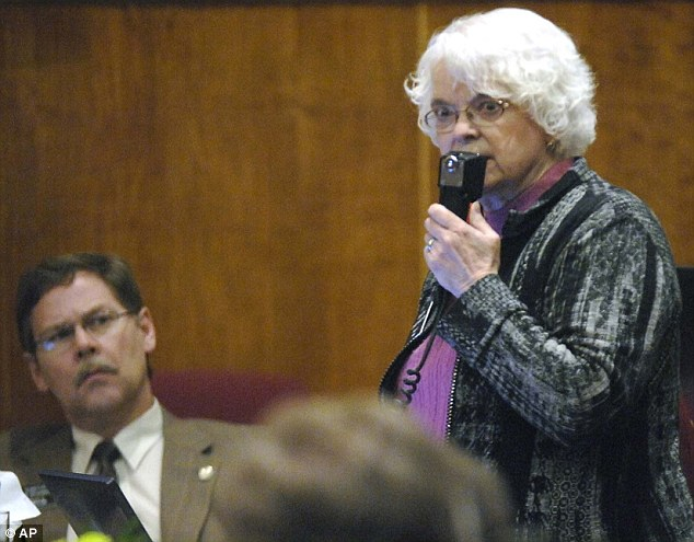 Speaking up: North Dakota state Senator Carolyn Nelson, D-Fargo, speaks out against the proposed new abortion laws. If the governor signs the measures, North Dakota would have the most restrictive laws in the country