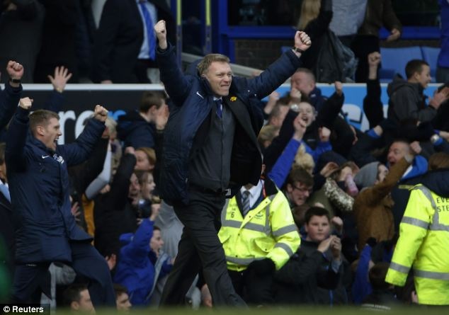 Response: Everton boss David Moyes celebrates his team's second goal after being 'rubbish' last week in the FA Cup