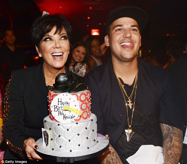 Happy birthday to you: Kris presents her son with a designer birthday cake at the Vegas hotspot