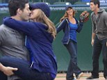 Jennifer Love Hewitt and co-star Brian Hallisay seen filming a baseball scene for The Client List