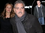 Haven't you heard three's a crowd! George Clooney and Stacy Keibler enjoy dinner date silencing split rumours... and Matt Damon tags along too