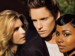 Another love triangle? Eddie Redmayne with Brit Marling (left) and Emayatzy Corinealdi (right)