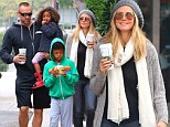 Making time for the family: Heidi Klum and boyfriend Martin Kristen step out in sweats as they take the kids out on morning coffee run