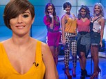 Flirty Frankie Sandford gives a cheeky glimpse of her bra in low-cut top for early morning performance with The Saturdays