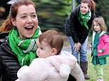 Loving family: Alyson Hannigan took her family to the park to watch the LA marathon, on Sunday