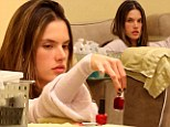 Pick a colour! Alessandra Ambrosio slips out for an evening pampering treatment at the nail salon