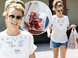 Fast food treat: Britney Spears was spotted leaving KFC on Tuesday, just hours after telling her Twitter fans that she had shot the cover of Shape magazine