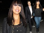 Cheryl Burke swaps ballroom glitz for sexy blue leather trousers as she joins dancers Mark Ballas and Derek Hough for DWTS afterparty
