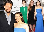 Emilia Clarke is reunited with former on-screen husband Jason Momoa as she attends Games Of Thrones premiere alongside glamorous female co-stars