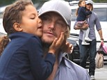 Daddy's little girl: Adorable Nahla gives her father Gabriel Aubry a big kiss