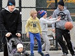Ethan Hawke in New York City with his children