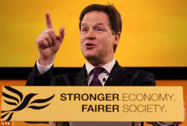 Help the middle: Deputy Prime Minister and leader of the Liberal Democrats Nick Clegg wants to help the British middle class who stand outside the benefits system and is 'punished' by expensive child care