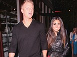 Holding hands: Sean Lowe and his fiancé Catherine Giudici left the Dancing with the Stars afterparty at Mixology in Los Angeles on Monday night