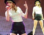 Taylor Swift in leather shorts performs at the Scottrade Center in St. Louis, Missouri