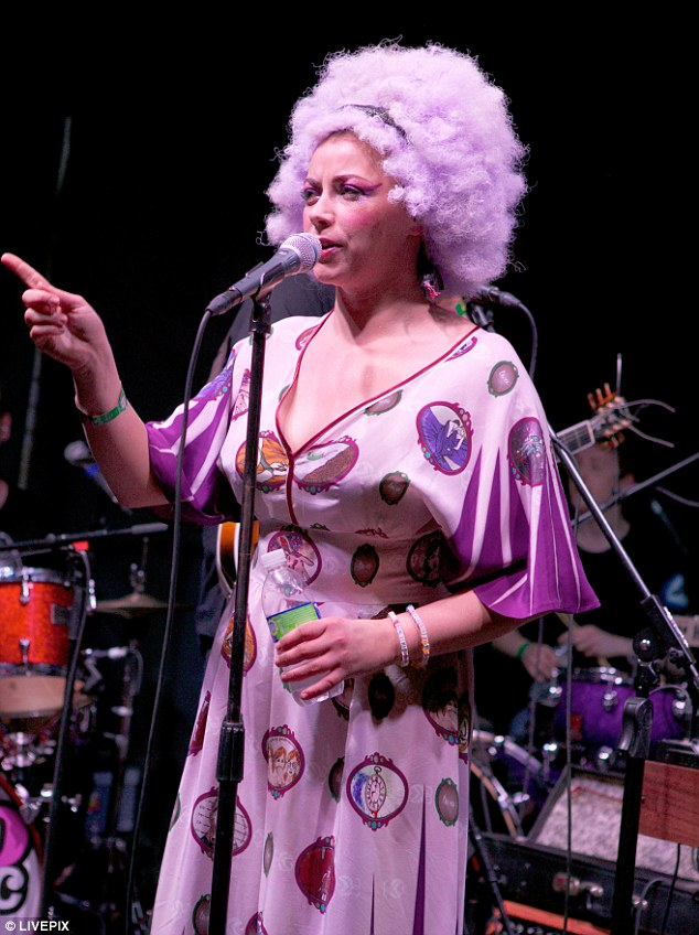 Funky diva: Charlotte Church wore a pink afro as she performed at the Vevo Control Rooms at South by Southwest on Friday night