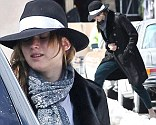 Don't fall, again! Jennifer Lawrence narrowly misses slipping over in the snow on the set of her new film