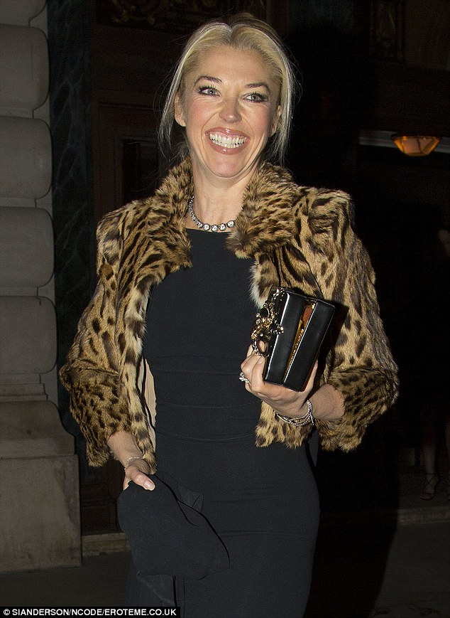 Showing off her spots: Tamara Beckwith flashed her pearly whites as she left the party
