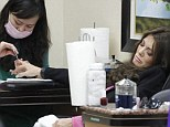 Lisa Vanderpump has a little snooze while getting her nails done at the salon in Beverly Hills