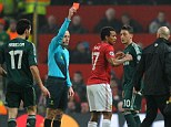 United front: Nani was sent off in controversial circumstances against Real Madrid
