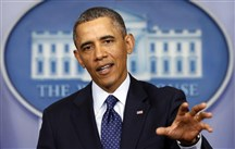 President Barack Obama speaks about the sequester after a meeting with congressional leaders at the White House in Washington March 1, 2013. REUTERS/K...