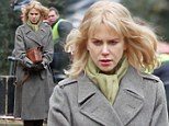 Why so glum? Nicole Kidman is bare-faced and sullen on the set of her new movie