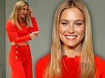 Raising the Bar! Refaeli bares her toned midriff in striking scarlet two-piece trouser suit