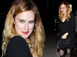Typically scruffy Rumer Willis shows her sophisticated side with scarlet lips and black skirt while out clubbing
