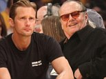 Two generations of Hollywood hunks: Jack Nicholson and Alexander Skarsgard watch the Lakers game