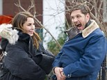 That's one for the album! Noomi Rapace and Tom Hardy on the set of Animal Rescue filming in Brooklyn