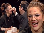 'I love Jimmy!' Fallon writes message on Drew Barrymore's forehead after triumphing in make-up Russian roulette challenge