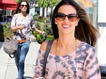 A little bit gypsy! Alessandra Ambrosio makes a fashion statement in tie-dye shirt during shopping spree