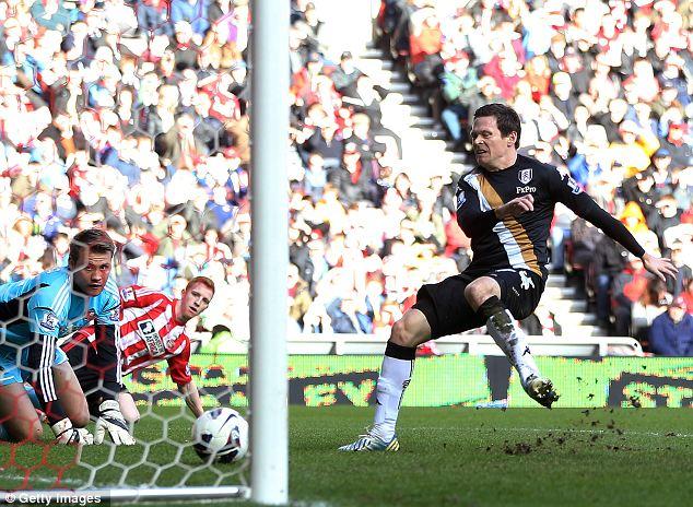 Close range: Sasha Riether scores Fulham's second