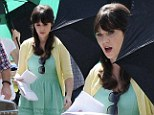 33 going on 13: Zooey Deschanel dresses like a girl ready for Easter Sunday on the set of New Girl