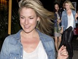Actress Ali Larter wearing black leather pants was leaving the swanky Chateau Marmont Hotel in West Hollywood, CA