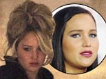 New hairdo: Jennifer Lawrence sports a bouffant on set of a new film shooting in Boston, on Friday
