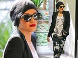 Too cool: Gwen Stefani donned rocker getup for Hollywood outing, on Friday