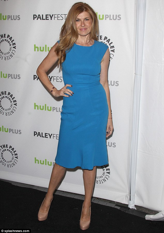 Pretty in blue: Fellow Nashville star Connie Britton made quite an entrance at the Paleyfest as well