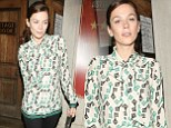 Anna Friel looked as fashionable as ever in key-patterned top as she left the Vaudeville Theatre in London on Monday night