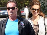 Missed connection: Arnold Schwarzenegger and Maria Shriver almost bumped into one another, on Friday