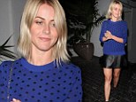 Showing Ryan what he's missing! Julianne Hough parades her dancer's legs in a skimpy leather miniskirt while out partying with girlfriends