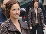 Minka Kelly shows her edgy side in leather as she films first scenes for JJ Abrams' sci-fi TV pilot