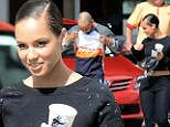 Now there's an opportunist! Alicia Keys' husband Swizz Beatz pulls up shirt to promote Reebok during lovers stroll