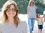 Rocking the boyfriend look! Ellen Pompeo covers up in baggy jeans for a shopping trip with daughter Stella