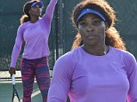 A patchy performance! Serena Williams works up a sweat as she shows off her fabulous form in practice