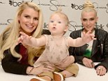 Eclipsed! Baby Maxwell steals the spotlight from pregnant Jessica Simpson as she promotes clothing line with sister Ashlee