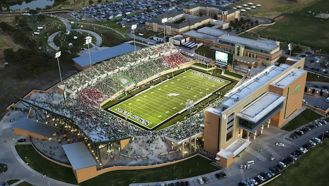 Apogee Stadium at the University of North Texas is the first newly constructed collegiate football stadium to achieve LEED Platinum certification.