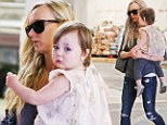 Mommy's little helper: Kimberly Stewart headed to the grocery store in Beverly Hills with daughter Delilah, on Saturday